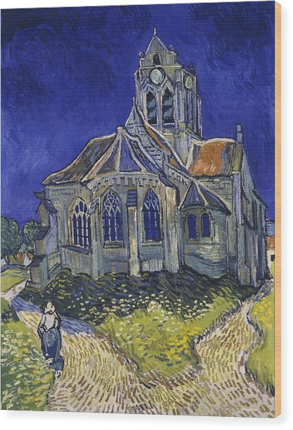 Wood Print featuring the painting The Church At Auvers by Van Gogh