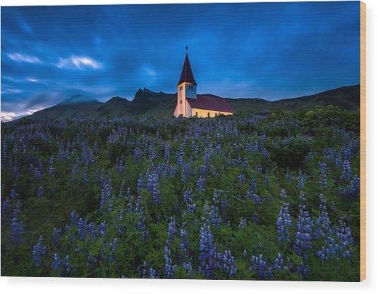 The Church At Vik Wood Print