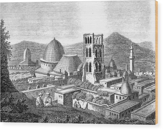 The Church Of The Holy Sepulchre With The Dome Of The Rock  Wood Print by Ludwig Mayers