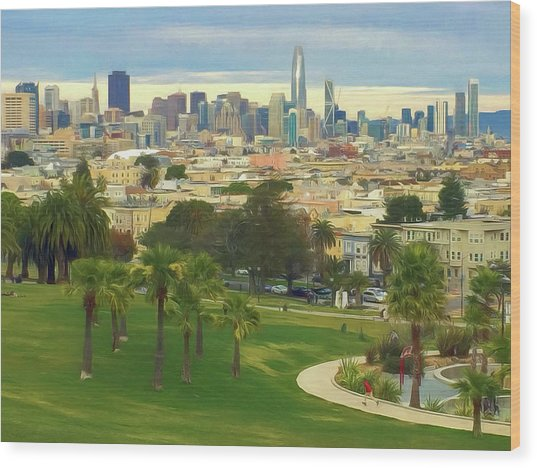 The City From Dolores Park Wood Print