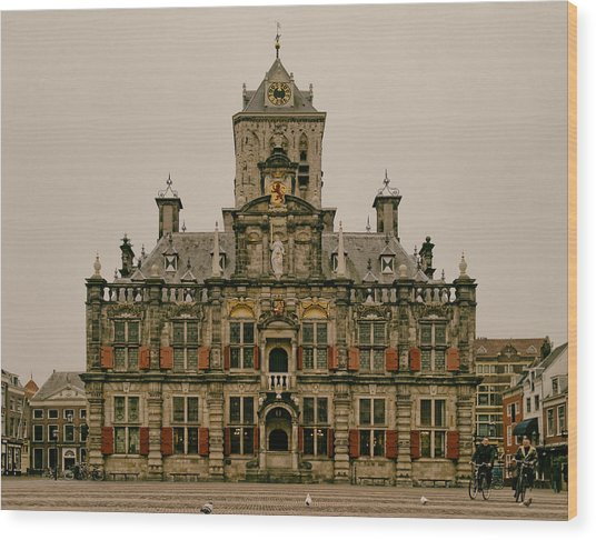 The City Hall Of Delft The Netherlands Wood Print