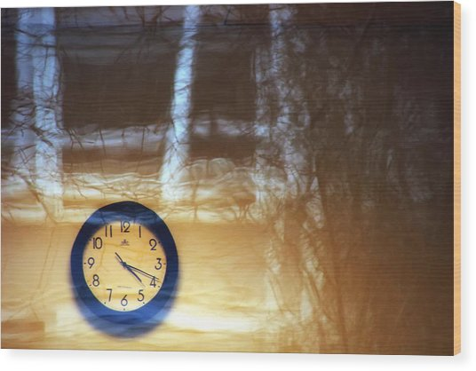 The Clock Of My Dreams Running Backwards Wood Print by Marcus Hammerschmitt