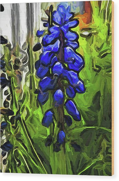 The Cobalt Blue Flowers And The Long Green Grass Wood Print