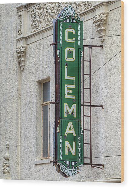 The Coleman Theater Wood Print by JC Findley