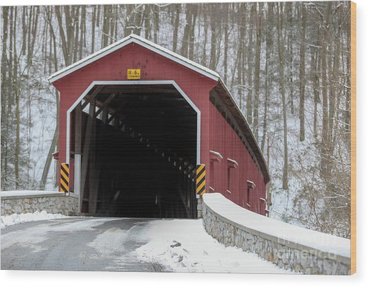 The Colemansville Covered Bridge In Winter Wood Print