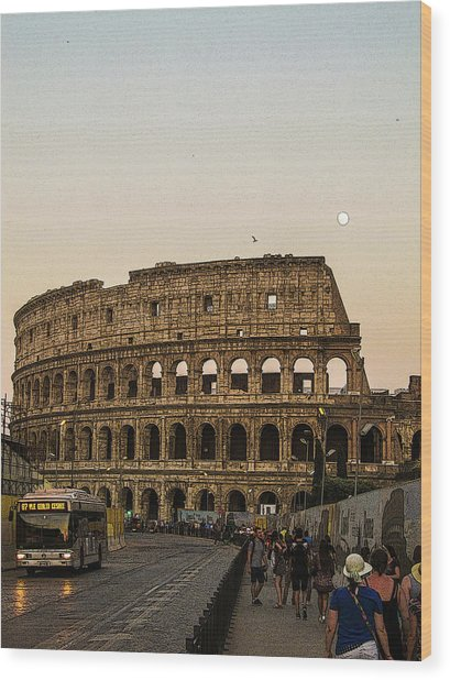 The Coliseum And The Full Moon Wood Print