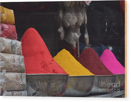 The Colours Of Holi Wood Print