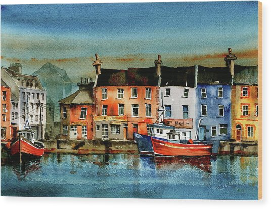 The Commercial Docks, Galway Citie Wood Print