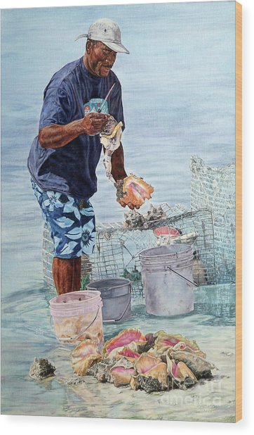 The Conch Man Wood Print