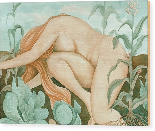 The Corn Maiden Wood Print