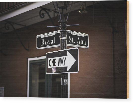 The Corner Of Royal And St. Ann, New Orleans, Louisiana Wood Print