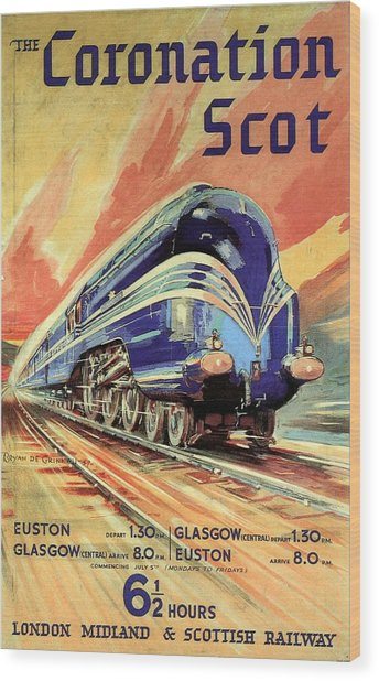 The Coronation Scot - Vintage Blue Locomotive Train - Vintage Travel Advertising Poster Wood Print