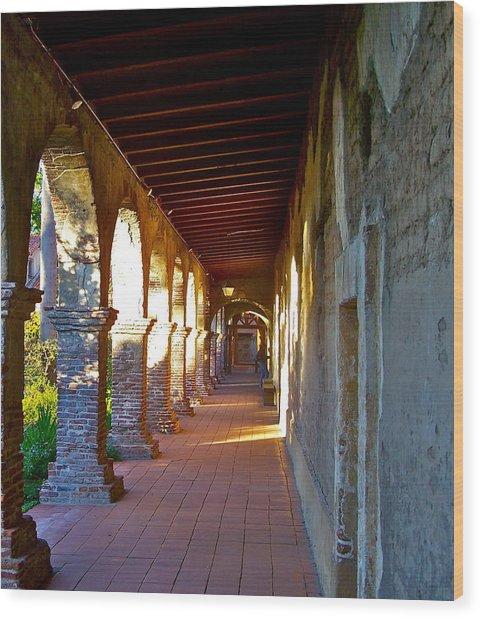 The Corridor By The Serra Chapel San Juan Capistrano Mission California Wood Print