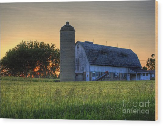 The Country Sunset Wood Print