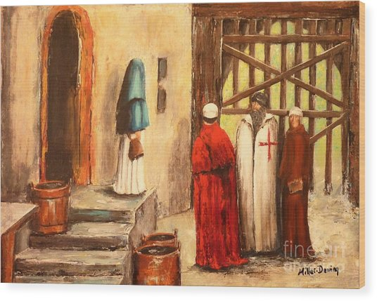 The Courtyard Conversation Wood Print