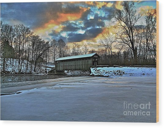 The Covered Bridge Wood Print by Robert Pearson