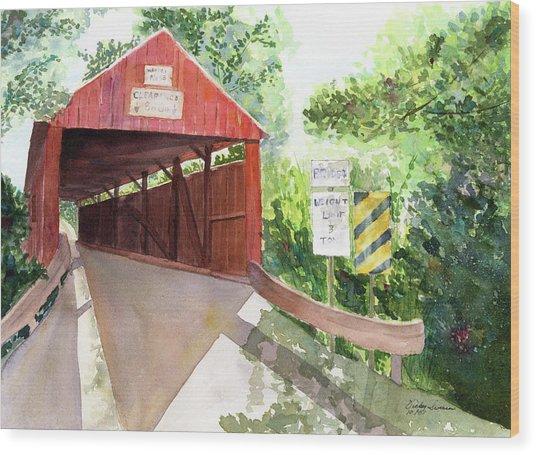 The Covered Bridge Wood Print by Vickey Swenson