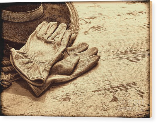 The Cowboy Gloves Wood Print