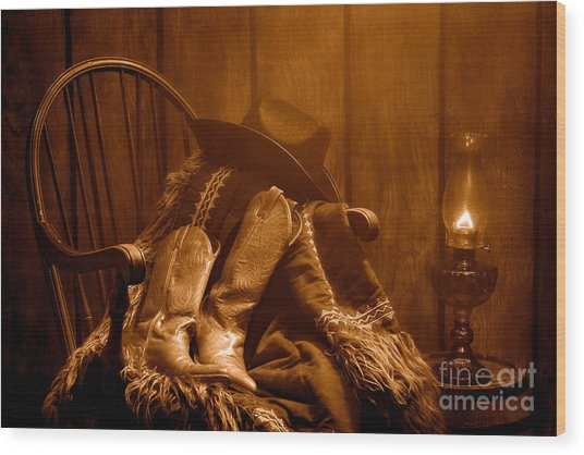 The Cowgirl Rest - Sepia Wood Print