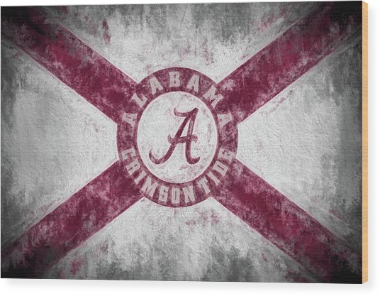 The Crimson Tide State Flag Wood Print by JC Findley