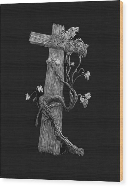 The Cross And The Vine Wood Print