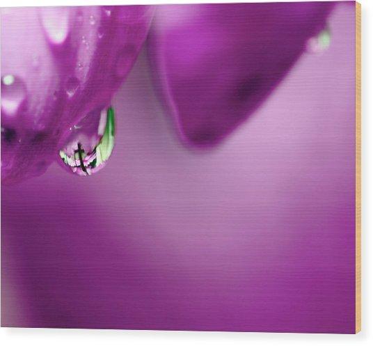 The Cross In Reflective Purple Water Drop Wood Print