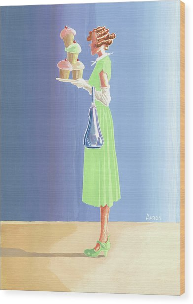 The Cupcake Lady Wood Print