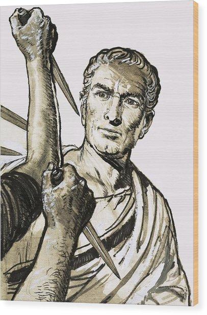 The Death Of Caesar Wood Print
