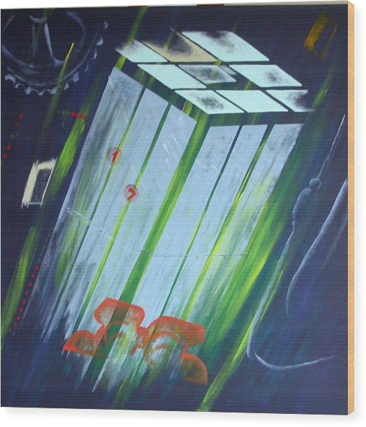 The Death Song Of The Elevator Wood Print by Poul Costinsky