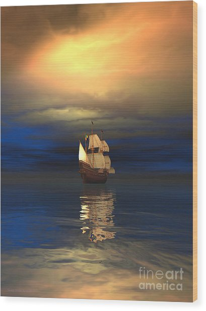 The Deep Blue Sea Wood Print by Sandra Bauser Digital Art