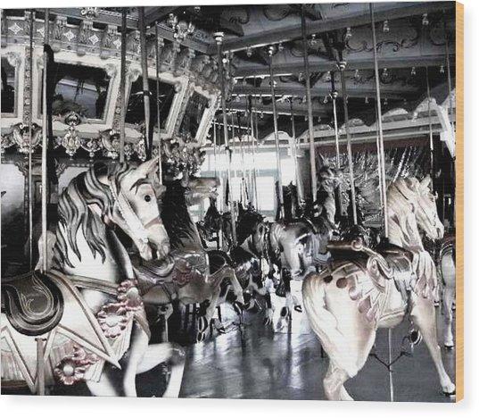 The Dentzel Carousel - Glen Echo Park Wood Print