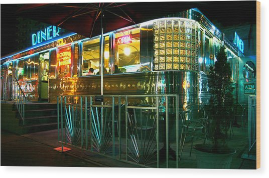 The Diner By Night Wood Print by Dieter  Lesche