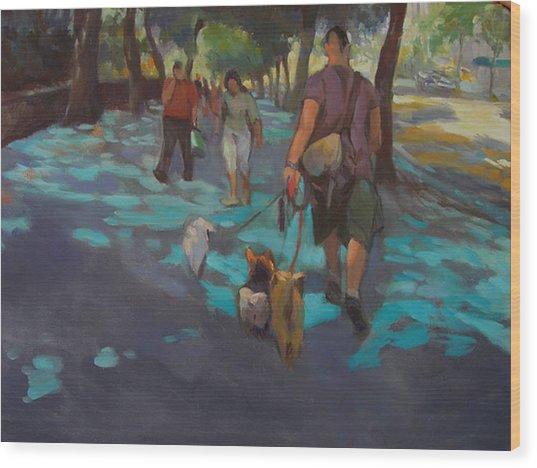 The Dog Walker Wood Print by Merle Keller