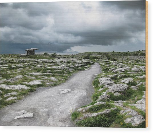 Wood Print featuring the photograph The Dolmen In The Burren by Menega Sabidussi
