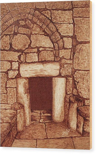 Wood Print featuring the painting The Door Of Humility At The Church Of The Nativity Bethlehem by Georgeta Blanaru