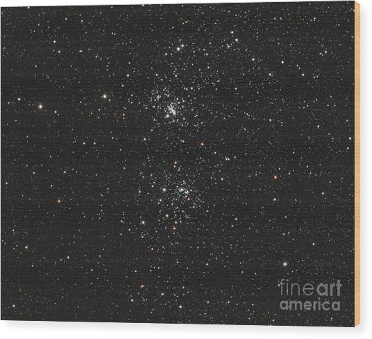 The Double Cluster Wood Print