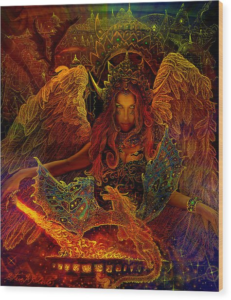 The Dragons Spell Wood Print