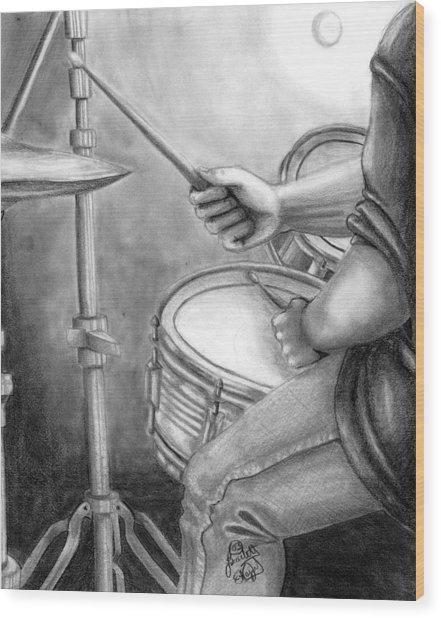 The Drummer Wood Print by Scarlett Royal