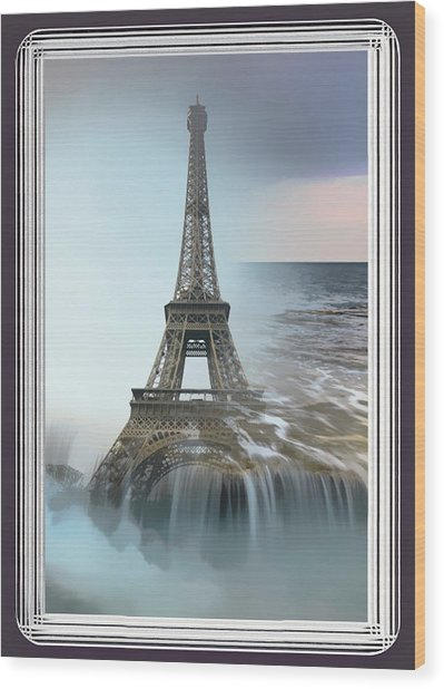 The Eiffel Tower In Montage Wood Print