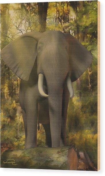 The Elephant Wood Print by Emma Alvarez