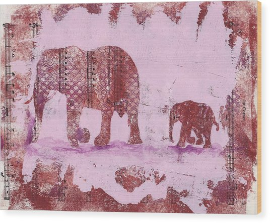Wood Print featuring the mixed media The Elephant March by Ruth Kamenev