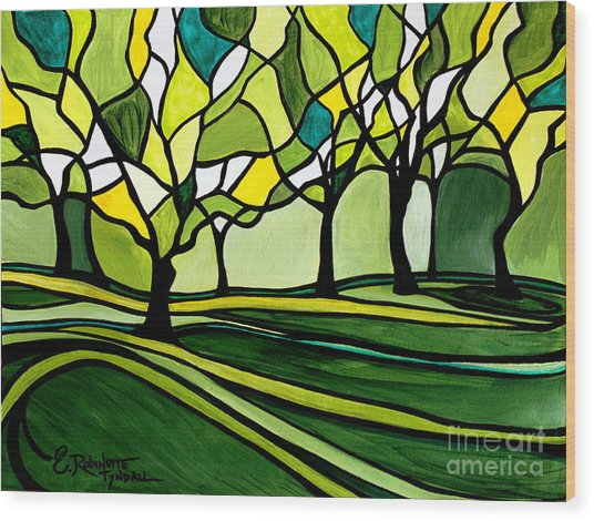 The Emerald Glass Forest Wood Print