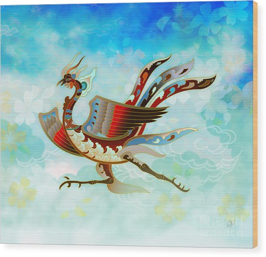 The Empress - Flight Of Phoenix - Blue Version Wood Print
