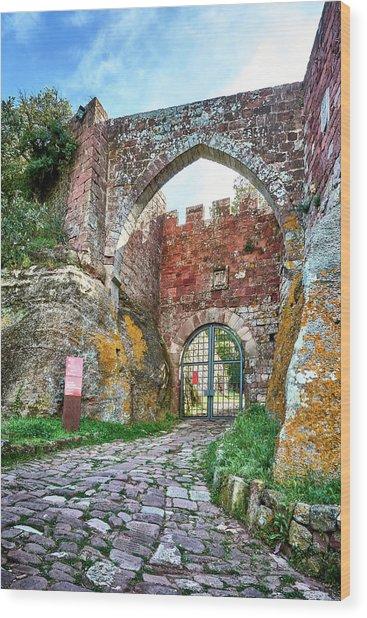 The Entrance To The Monastery Of Escornalbou Wood Print