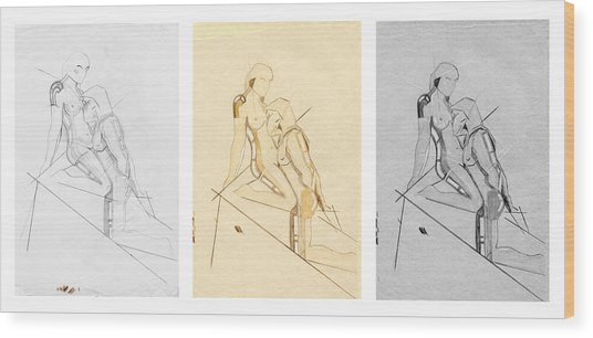 The Eternal Idol - Triptych - Homage Rodin Wood Print