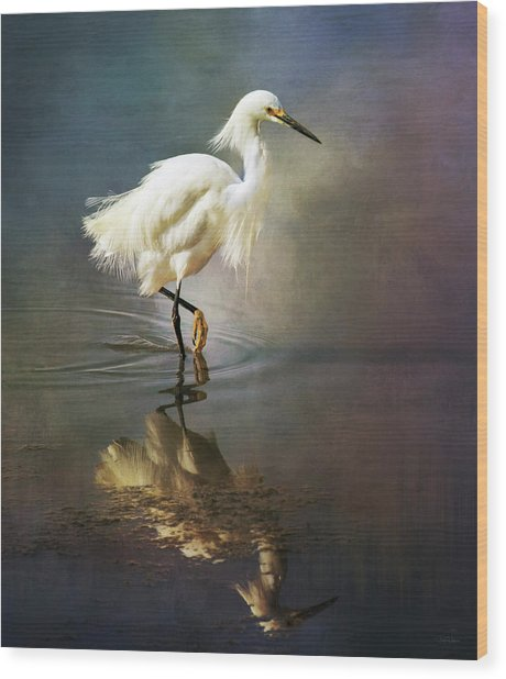 The Ethereal Egret Wood Print
