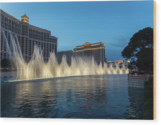 The Fabulous Fountains At Bellagio - Las Vegas Wood Print
