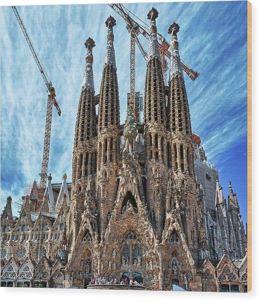 The Facade Of The Sagrada Familia Wood Print
