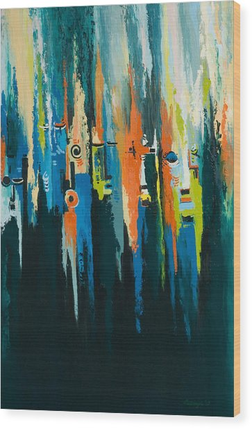 The Faces Wood Print by Alfred Awonuga