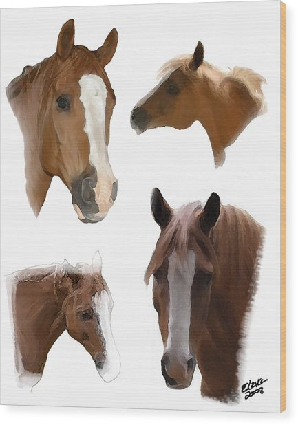 The Faces Of T Wood Print by Elzire S